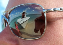 Sea Vee 34 with girls reflection in sunglasses
